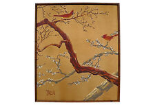 Vintage Asian oil painting of cardinals in a faux-bamboo frame.