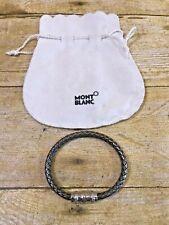 🎁MINT🎁 MONTBLANC Woven Sterling Silver Diamonds Circle Clasp Men's Bracelet