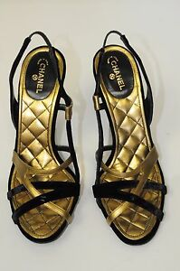 New Chanel Black Velvet Metallic Gold Patent Strap Classic CC Heels Shoes 40.5