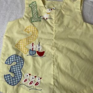 Sweet Talk Vintage Baby Romper One Piece Boys 12 Months Ducks Boats Yellow