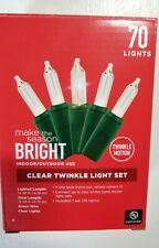 Holiday Season Wedding Bright 70-Count Clear Twinkle Light Set 14-Ft Indoor/Out