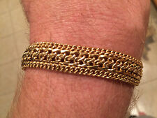 "7 1/2"" Bold Shiny  Bracelet Real 14K Yellow Gold"