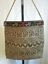 Large Handmade Tribal Jute Straw Beaded Shoulder Tote Handbag