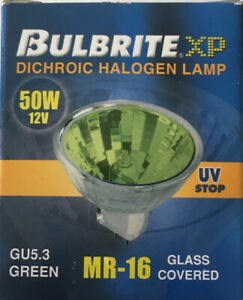 [3 Pack] Bulbrite Green 50 W 12 V Dichroic Covered Halogen Lamps MR16 GU 5.3