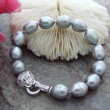 "On Sale 8"" 10mmx12mm White Black Gray Pink Purple Rice Freshwater Pearl Bracele"