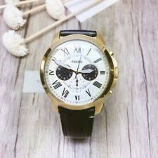 NWT Fossil Grant Black Leather Strap Chronograph Gold Dial 44mm Watch FS5272