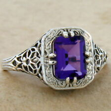 LAB AMETHYST ART DECO 925 STERLING SILVER ANTIQUE STYLE RING SIZE 10,#713