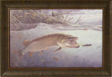 ON THE EDGE by Terry Doughty 20x29 FRAMED PRINT Musky Muskie Fishing Fish