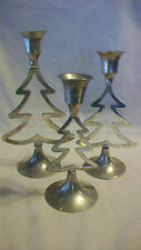SET OF THREE CHRISTMAS TREE SILVERPLATED CANDLE HOLDERS