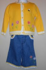 Beluga Infant Girls Sweater + Denim Capri Pants + T-Shirt Yellow 24M NWT