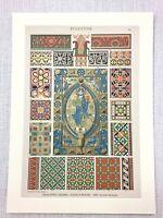 1883 Antico Stampa Bizantina Art Design Marmo Mosaico Gesù Cristo Icon Decoro