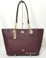 COACH Polished Pebbled Leather Turnlock Chain Tote 2 Purse 57107 Oxblood Red NWT