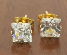 Men's 5mm square stainless steel  gold plated cz stud earrings.