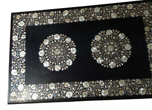 Marble Black Dining Table Top Mother of Pearl Inlay Mosaic Work Patio Art H2701