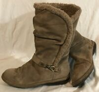 Lands'End Brown Mid Calf Suede Boots Size 4.5(955vv)