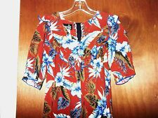 Rare Hawaiian Long Dress BEAUTIFUL Flowers Blouse Shirt Mumu Top Surf Women sz 4