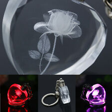 Rose Fairy Heart Square Crystal LED Light Charm Key Chain KeyRing Mix-color