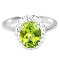 NATURAL AAA GREEN PERIDOT OVAL & WHITE CZ STERLING 925 SILVER RING SIZE 6.5