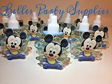 12 Blue Mickey Mouse Plastic Fillable Bottles Baby Shower Favors Boy Decoration