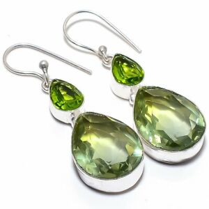 Bi-Color Tourmaline, Peridot 925 Sterling Silver Jewelry Earring 2.0""