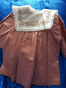 """Boneka Cotton Dress +  Embroidered Lace 16""""-18? Doll, 12 1/2"""" TOP TO BOTTOM"""
