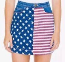 American Apparel USA Flag Denim Jean Skirt Patriotic July 4th Stars Stripes S