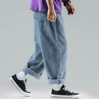 Mens Wide Leg Pants Denim Jeans Harem Trousers Loose Casual Retro Stright Blue