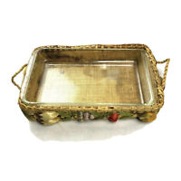 "Vintage Pyrex Clear Glass Baking Dish 11 3/4 x 7.5"" & Wicker Basket w/ Handles"