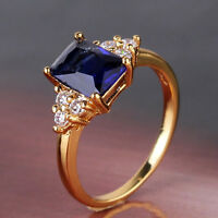 Promise 24k yellow gold filled wedding woman nice sapphire dashing ring SzJ-SzR