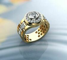 Fine Jewelry 18 Kt Real Solid Yellow Gold CZ Men'S Statement Ring Size 8,9,10,11