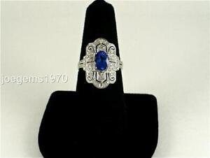 "LeVian 1-1/3ctw Tanzanite Diamond 18K Solid Gold RING 7/8"" wide Size 7 Brand New"