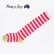 Knee High Socks Striped Ladies Long Womens Red Pink Stripe AU Stock