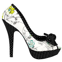 Sexy Bow Multicoloured Floral Polka Dot Platform Party Pumps Size 4/5/6/7/8/9/10