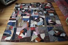 Antique Crazy Quilt Dark Fabrics Patch Embroidered Snowflakes NC Mountains 64x73