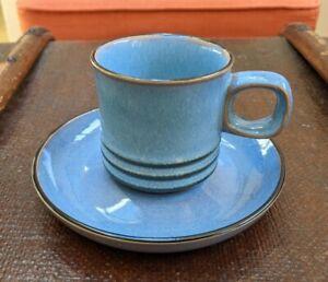 Denby England CORFU BLUE RUST Brown Stoneware Coffee Tea 5 X Cups + Saucers