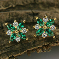 2 Ct Marquise Cut Emerald Diamond Women Cluster Stud Earrings 14K Yellow Gold Fn