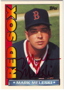 1990 Topps TV Boston Red Sox Mark Meleski #35 Auto Autograph