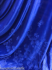 "ROYAL BLUE ROSE FLORAL 3D EMBOSS VELVET 60""W FABRIC CURTAIN DRAPE DRESS CLOTH"