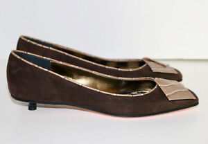 CHRISTIAN LACROIX brown suede kitten heel shoes 36.5