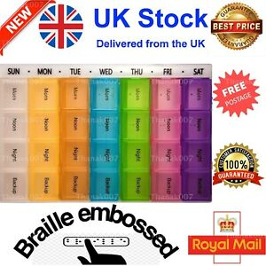 7Large Monthly Weekly Dail Colour Pill Box Organiser Tablet Medicine DispenserUK