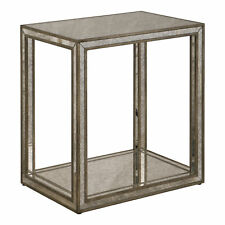 Luxe Mirrored Glass Outline End Table | Minimalist Mid Century Modern Side Gold