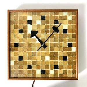 Vintage Mid Century Modern George Nelson Howard Miller Tile Wall Clock Rare 2232