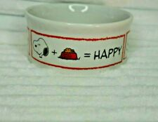 """Peanuts Snoopy's Don't Forget To Feed The Dog Stoneware 4.5"""" Wide Food Pet Dish"""