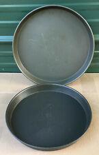 2 Commercial Aluminum Deep Dish Pizza Pans 13.25 & 15'' cake pie baking nesting