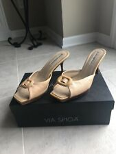 Via Spiga Mules Leather Made in Italy, Heels Clog Slide Sz 8.5