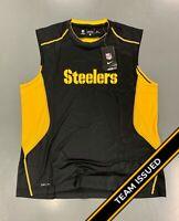 Pittsburgh Steelers Team Issued Black Nike Hypercool Fitted Tank Top