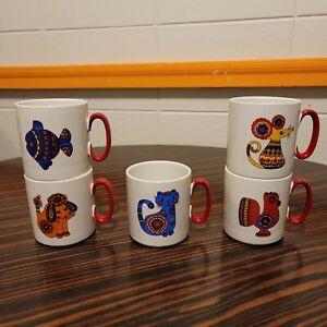 "Villeroy & Boch Milano Style Red Handle Animal Mug Cup Set 5 Acapulco VTG 3 1/4"""
