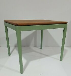 Danish Modern Teak Side, End Table Green Legs Mid Century Sun KD Mobler Style