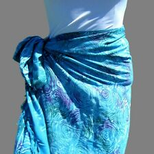 Teal Blue Hand Batik Sarong Pareo Wrap Full Size Rayon Beach Cover up FREE CLIP