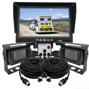 "7"" Monitor 4 PIN HD 2X 700TVL Sony IR CCD Reversing Camera For Truck Caravan Kit"